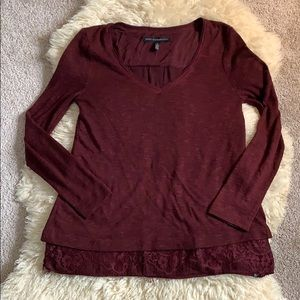 White House Black Market - Maroon Lace Top